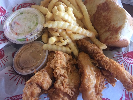 Houma, LA: The box, four chicken fingers, fries and slaw
