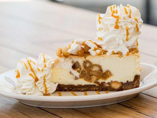 Brea, CA: White Chocolate Caramel and macadamia nut cheesecake