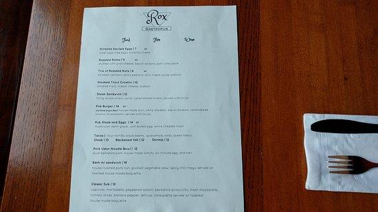 Wooster, OH: Rox Gastropub menu
