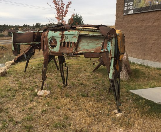 Outdoor sculpture at Phippen Museum