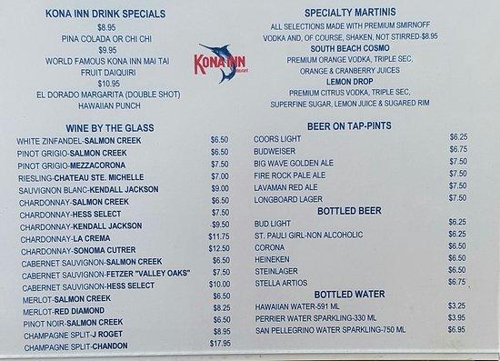 Kona Inn Restaurant Menus