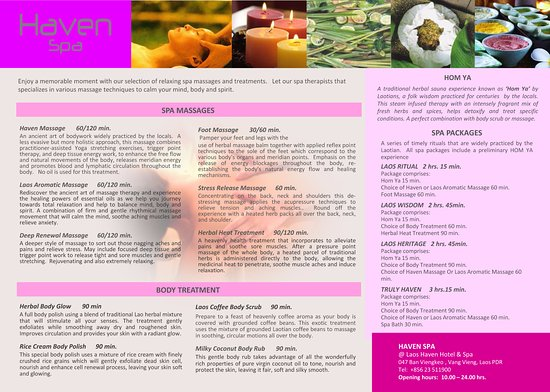 Laos Haven Hotel: Haven Spa Menu