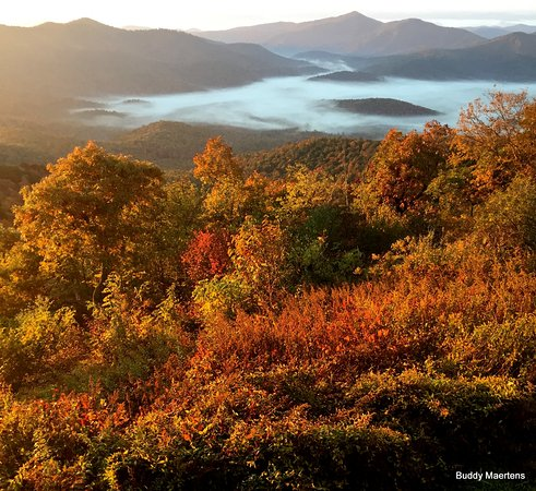 Pisgah Inn: Fog in the low valleys; beautiful fall foliage right in front of you!