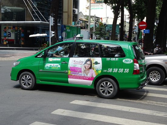 The totally green genuine Mai Linh cab  - Picture of Mai