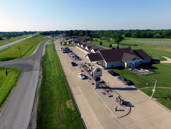 La Plata, MO: Aerial view of Depot Inn and Silver Rails Vineyard