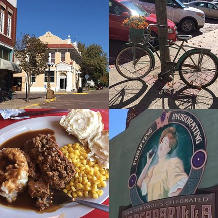 A photo collage of Walnut, IA with a picture of my meatloaf meal!