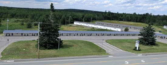 Machias, ME: Arial view of our three guest buildings and extended parking spaces.