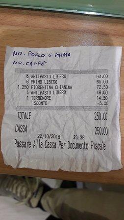 Nievole, Italie: documento non fiscale. Per il gestore: NON avevamo ordinato nessun dolce come vede!!