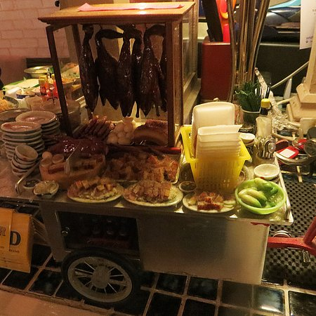 baan mai thai restaurant fun thai mini food cart decoration by reception till desk