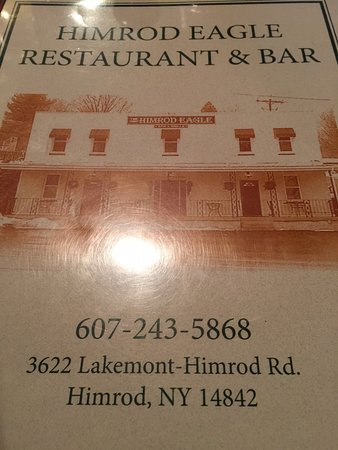 Himrod, NY: Front of Menu