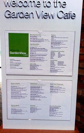 Menu for the Garden View Cafe - Picture of Garden View Cafe