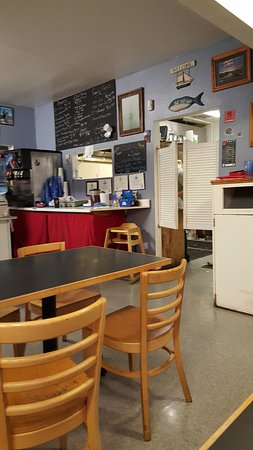 J's Fish & Chips: Order counter and pick up window