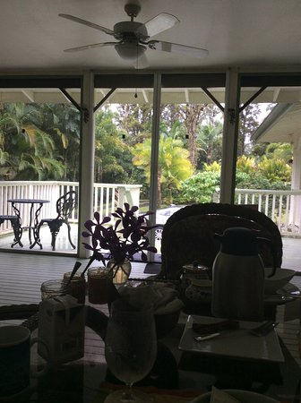 The Ohia House: View from the breakfast table in the veranda