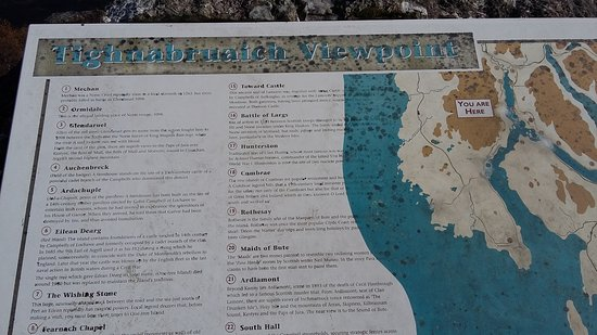 Tighnabruaich, UK: Map of the area at lookout.