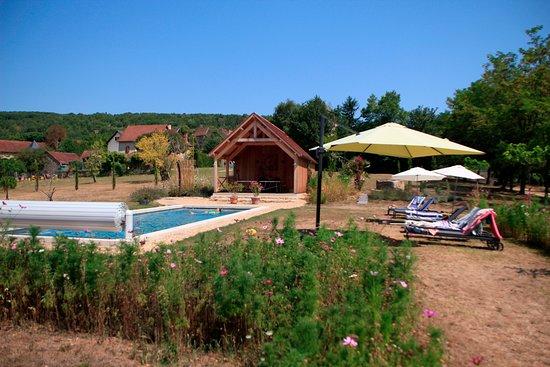 vue de la piscine et de son pool house photo de domaine le broual saint pierre toirac. Black Bedroom Furniture Sets. Home Design Ideas