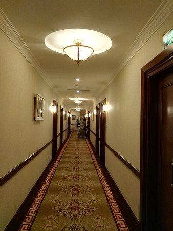 Park Hotel Shanghai: Corridor to the rooms,lovely lights and carpets.