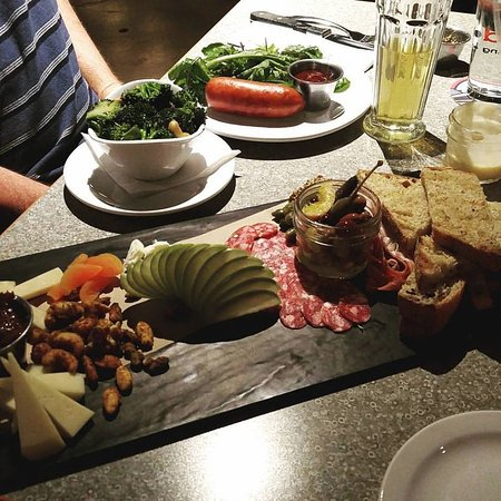 Wausau, WI: Charcuterie Plate and Smoked Sausage with Broccoli