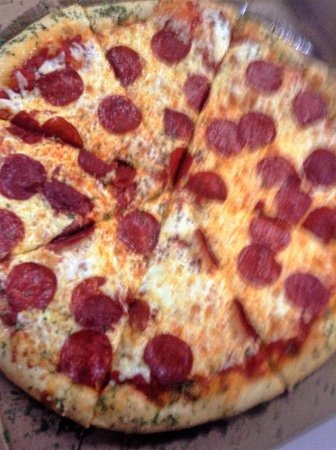 Domenic's Pizza: Pepperoni pizza with garlic buttered crust you must request that on the crust if you would like