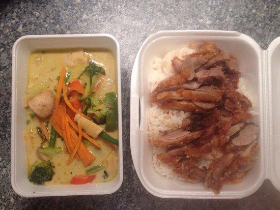hot wok grunes thai curry mit knuspriger ente 9 00