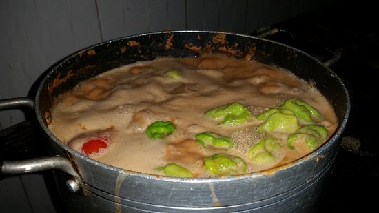 Accra Urban Adventures: Chicken in the peanut soup - close to being ready