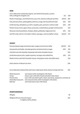 Lilydale, Australia: Our A La Carte lunch and dinner menu.