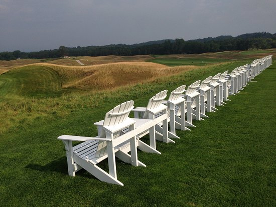 Arcadia, MI: The famous white Adirondack chairs