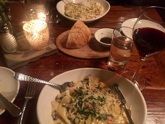 Carmella's: Good bread, didn't care for the Pappardelle