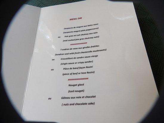 Les Rigalous: le menu
