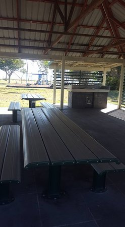BBQ area at Moore Park Beach Holiday Park