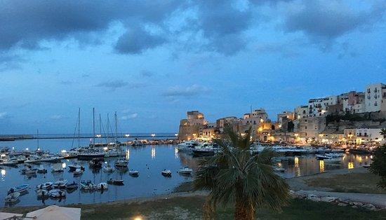 Hotel Cala Marina: The view of a the marina from the room at dusk.