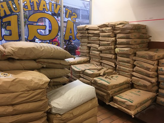 Bags Of Flour Picture Of St Viateur Bagel Shop Montreal Tripadvisor