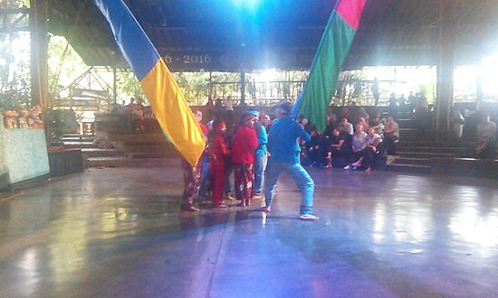 dancing with flags picture of saung angklung udjo bandung
