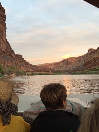 Moab Adventure Center - Day Tours: View fro the boat as we headed out on sunset/night boat tour