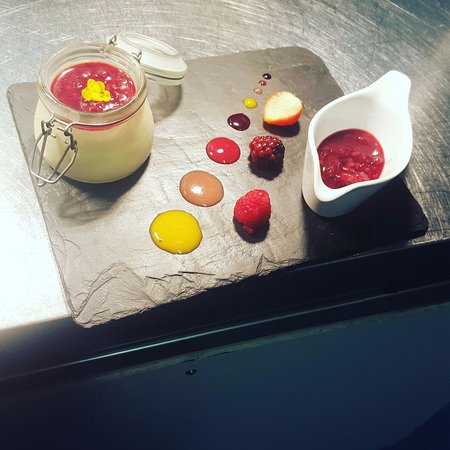 Dinton, UK : Rose and elder-flower panna cotta  raspberry compote