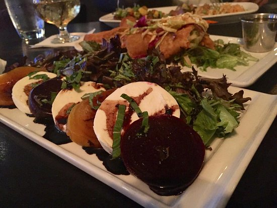 Wakefield, RI: Beet Caprese Salad Red & Golden Beets, Baby Greens, Fig-Balsamic Glaze, Fresh Mozzarella Cheese