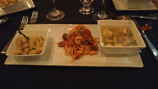 Il Salici at the Willows: pasta dish, gnocci in garlic olive oil, octopus linguine, tortellini in broth