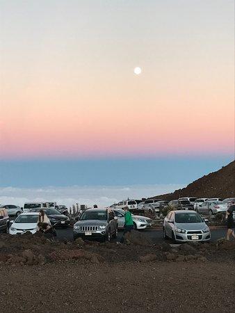 Makawao, HI: Moon rising over Haleakala