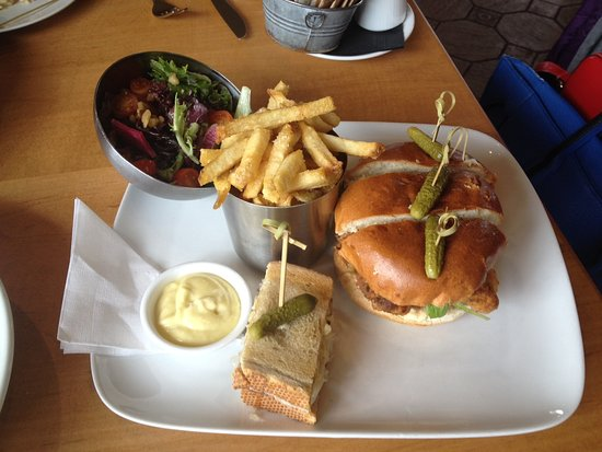 Tapenade Bistro : Chicken burger with fries, Duck Reuben with salad