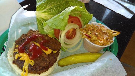 Eden A Vegan Cafe: Rockin Elvis Burger with cole slaw