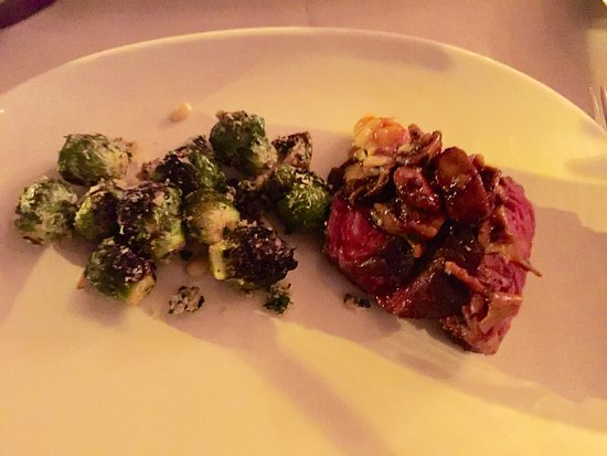 La Quercia : Brussel sprouts withe lemon and full flavoured tender beefy tasting skirt steak