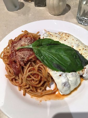 Angelo's Pizza : Chicken Parmigiana with spaghetti topped with their signature basil leaf
