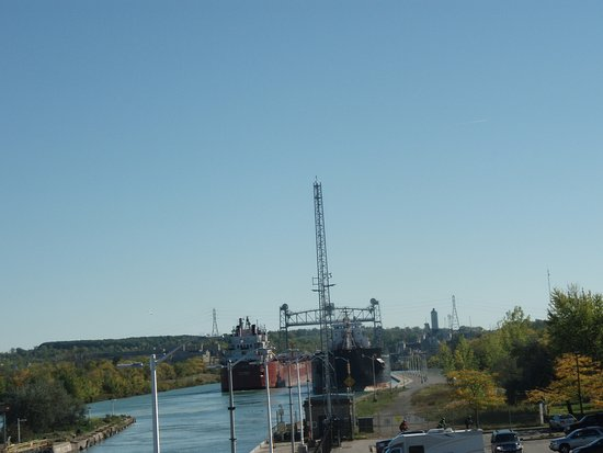 St. Catharines, Canada: One ship exiting one coming into locks.