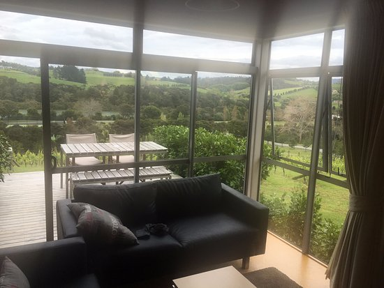Riverside Matakana: lounge and private deck overlooking the vineyard