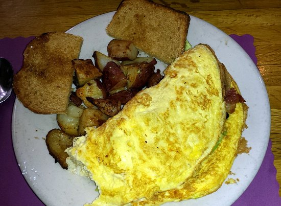Colby's Breakfast & Lunch : Omelet special (missing avocado), burned potatoes, stale toast