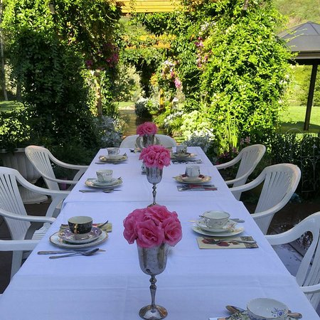 Outdoor seating for high tea in the summer. - Picture of The Tea Pot ...