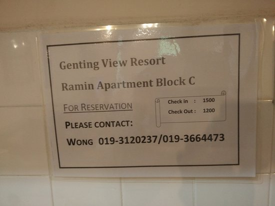 Genting View Resort: Call them if you want . Quite cheap