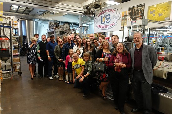 Lakefront Brewery Wedding Party In Front Of The Laverne And Shirley Bottling Line