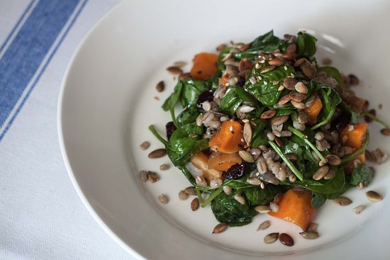 Egerton, UK: The Barrow House – Roasted squash & barley, spinach, pumpkin seeds & cranberry
