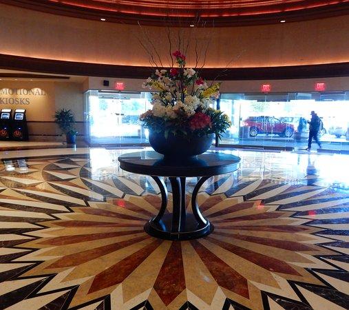 Granite floor lobby with fresh flowers