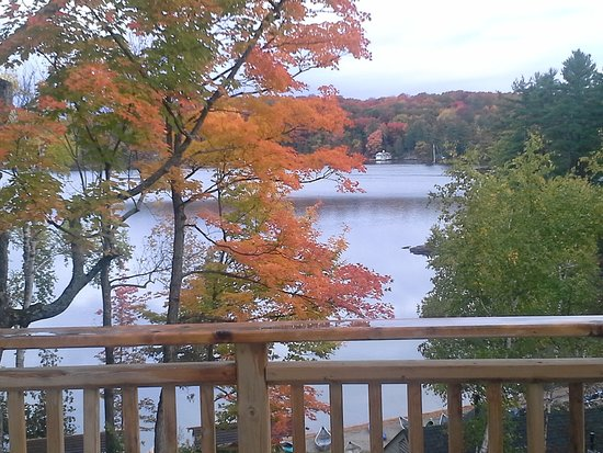 Port Carling, Canada: view from balcony - beach and Lake Joseph